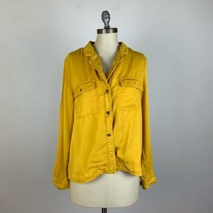 C&C California Yellow Button Down Blouse
